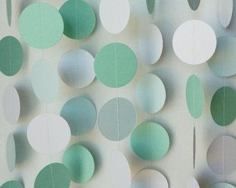 Mint Green & White Garland, Mint Wedding Decoration, Baby Shower Decor, Nursery, Birthday Party