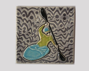 Kayaking handmade decorative MUD Pi tile