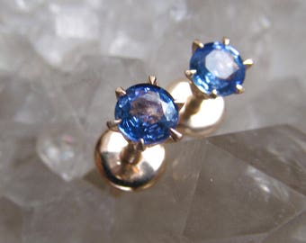 14k Rose Gold Stud Natural Blue Sapphire Earrings, Fine Jewelry
