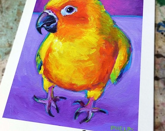 SUN CONURE ART Print by Robert Phelps; Parrot, Parrot Art, parrot print, Coastal Decor, Beach Decor, Coastal Wall Decor, Bird, Bird painting