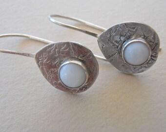 Tear shape Mother of Pearl earrings, Stamped sterling earrings 6mm mother of pearl earrings. Tear shape dangle earrings, handmade