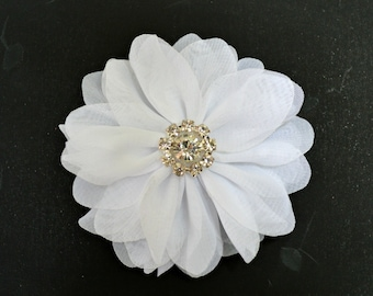 "3"" White Chiffon Flowers. 3"" Chiffon Flowers with Glass Rhinestone Center. QTY: 1 Flower  ~Brea Collection"