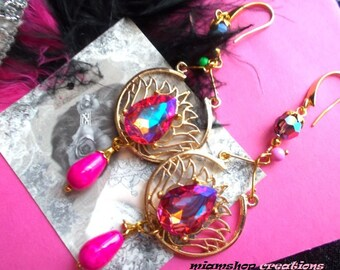 gold tone Crystal and Czech beads Bohemian lotus earrings