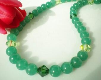 Chinese Jade Beaded Necklace Swarovski Crystals Emerald Peridot