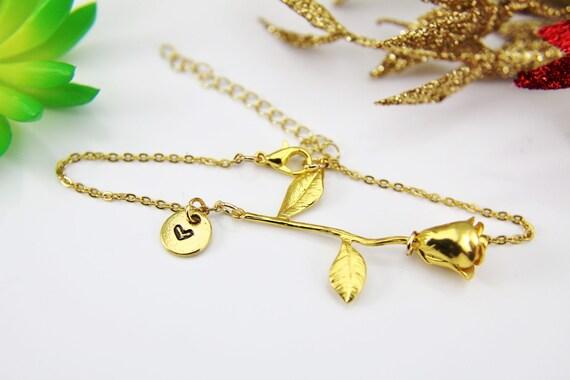 Gold rose bracelet rose pendant bracelet rose bracelet gold like this item mozeypictures Images
