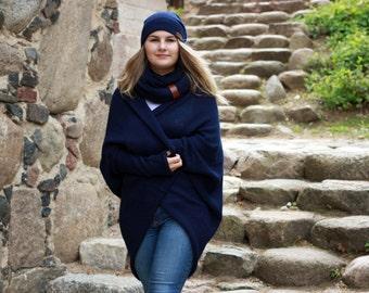 Alpaca wool oversized sweater for women, knit cardigan, navy shrug, dark blue cocoon cardigan, knitted wrap, coat