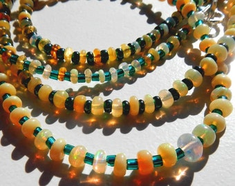 Ethopian Opal and Glass Bead Necklace With Silver Plated Lobster Clasp Closure