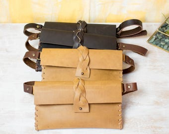 Waist Bag, Leather Belt Pouch, Belt Bag, Hip Bag, Fanny Pack in Tan or Black Leather