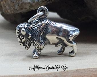Buffalo Charm, Buffalo Pendant, Bison Charm, Sterling Silver Charm, Sterling Silver Pendant