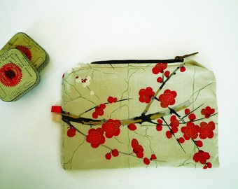 clutch purse Japanese cherry blossom Golden beige and Red