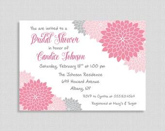 Bridal Shower Invitation, Pink and Grey Mums Invite, Floral Wedding Shower Invite, DIY PRINTABLE