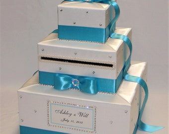 White and Malibu Blue Card Box with Rhinestone accents-ANY COLORS