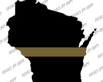 Wisconsin State US Thin Gold Line Outline Car Decal Milwaukee Madison Green Bay Dispatch Operator 911 Operator