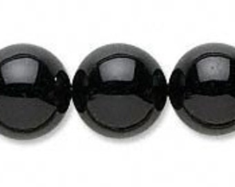 10mm Beautiful Rich Black Onyx Round Beads 16""