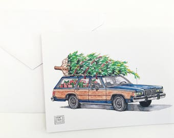 Station Wagon Christmas cards, set of 8 cards and envelopes, 80s, holiday card, Christmas tree, original watercolor printed cards