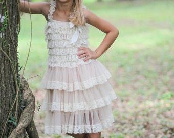 Flower Girl Dress- Vintage Chic Flower Girl Dress- Flower Girl Dresses- Ivory Girls Dress- Chiffon Dress- Rustic Wedding Dress