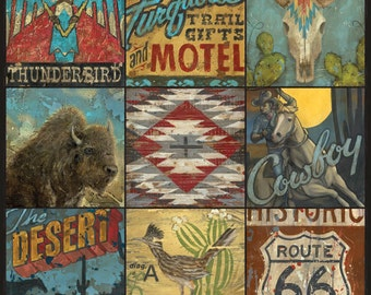 Great Southwest Cowboy Art Western Wall Art Collage by Aaron Christensen- perfect decor for the lover of western and cowboy lifestyles.