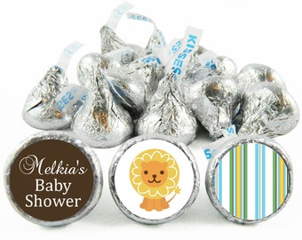 Set of 108 - King of the Jungle Boy Baby Shower Stickers for Hershey's Kisses. King of the Jungle Lion Baby Shower Favors - #IDBBS601