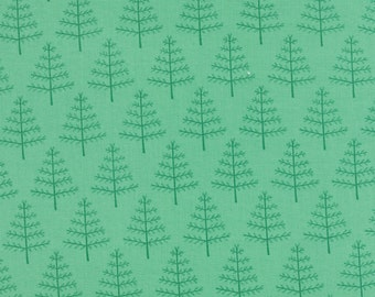Green Tree Fabric, Moda 5003 16 Into the Woods, Green Christmas Fabric, Christmas Tree Fabric, Woodland Fabric, Quilt Fabric, Cotton