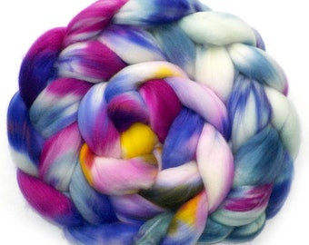 Roving Superwash Merino Superfine 18.5 Micron Hand Dyed Combed Top, Pansies, 5.1 oz.