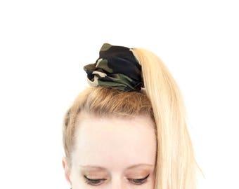 Camo Scrunchie, Camoflauge Scrunchie Pony Tail Holder, Bun Wrap,  Pony Tail Wrap Scrunchie Hair Ties Scrunchies Gift for Her Girlfriend Gift