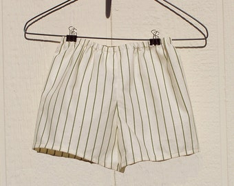Cream and Green Striped Baby  Boy Shorts, Size 6 Months