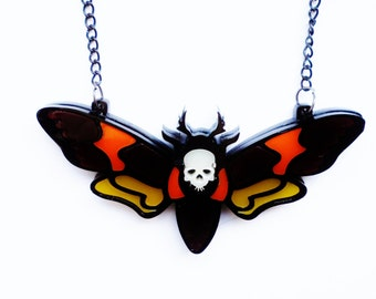 Deaths head moth necklace