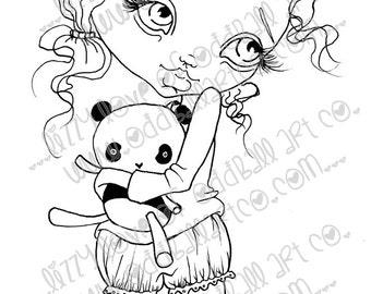 Digi Stamp Digital Instant Download Big Eye Bedtime Pajamas Girl ~ Sally Image No. 11 & 11B by Lizzy Love