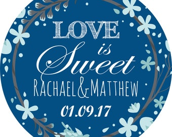 Wedding Anniversary Elegant Snorkel Blue Sticker Labels Personalized Seals Ideal for Party Bags, Sweet Cones, Favours, Jars Presentations