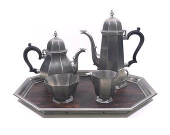 "Vintage Pewter Teapot & Coffee Pot with Sugar and Creamer by Gorham, Vintage ""Octette"" Pewter Tea Set"