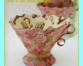 Teacups-Box set of 5 Paper Teacup Tea Party Favors, Nut & treat Cups-Alice in Wonderland-Afternoon Tea-Bridal-Baby-Showers-Weddings