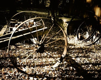 Wagon Wheels  Photograph - Rustic Wheels - Wall Decor - Rustic Wall Art - Autumn Photograph - Fine Art - Antique - Agriculture