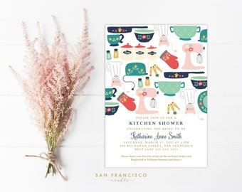 Kitchen Shower Invitation Instant Download | Bridal Shower Invite Template | Vintage Kitchen Collection | DIY| | PDF Template File