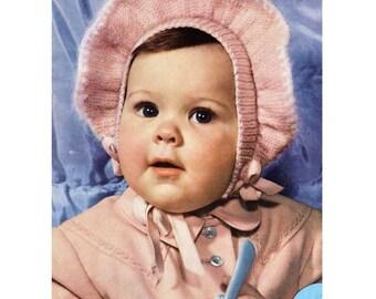 PDF Frilly Bonnet Knitting Pattern, Baby Hat patterns, baby helmet patterns baby knits, baby hat patterns 50s vintage patterns