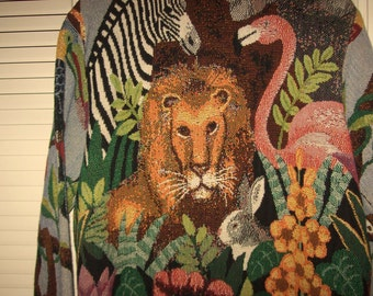 CECIL LION  Tapestry Work of Art Jacket, back shown w Cecil , Zebra, Flamingo large