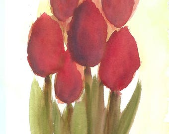 Box of 6 Cards - Rosy Red Tulips