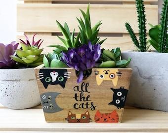 All the Cats, Gift for Gardener, Cat Lover Gift, Custom Cat Gift, Cute Succulent Planter, Decorative Bin, Rustic Planter Box, Garden Box