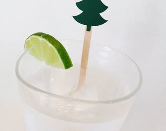 15 Pine Tree Drink Stir Sticks - Woodland Baby Shower - Camping Theme Party - Christmas - Forest - Birthday Party - Swizzle Sticks