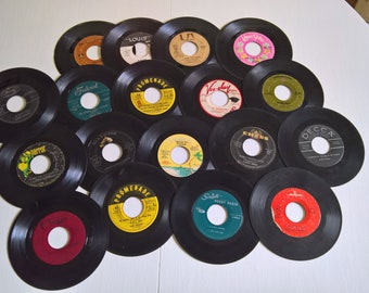 Vintage Jukebox Mix 45 rpm Records --- Retro Vinyl Instant Collection Hipster Music Home Decor --- Doo Wop Diner Mixed Lot Set Cool Crafting