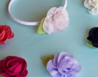 Removable flower clip headband