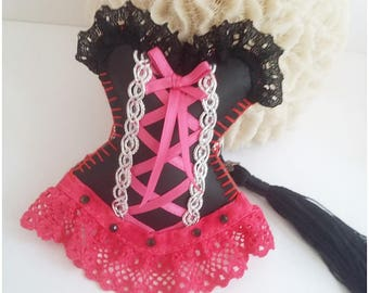 Romantic bag charm, glamorous, sexy corset black leatherette Keychain, pink lace in fuchsia, love, Valentine's day gift, handmade