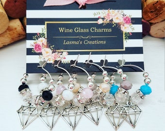 Bridal Shower Favors, Wine Charms, Diamond Wine Glass Charms, Engagement Gift, Bachelorette Party Decor, Bride to be Gift, LasmasCreations