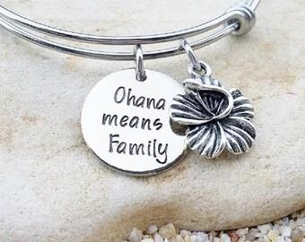 Sale - Ohana means Family - Disney Bangle - Disney Bracelet - Lilo and Stitch - Ohana - Disney Wedding - Disney Gift - Bridesmaid Gift