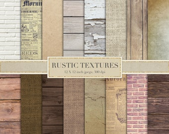 Rustic textures, digital paper, scrapbook paper, rustic digital paper, brick wall, wood, kraft paper, burlap, linen, shabby, DOWNLOAD