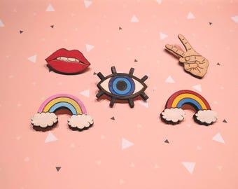 Cute Pins Lips blue eye peace hand raimbow