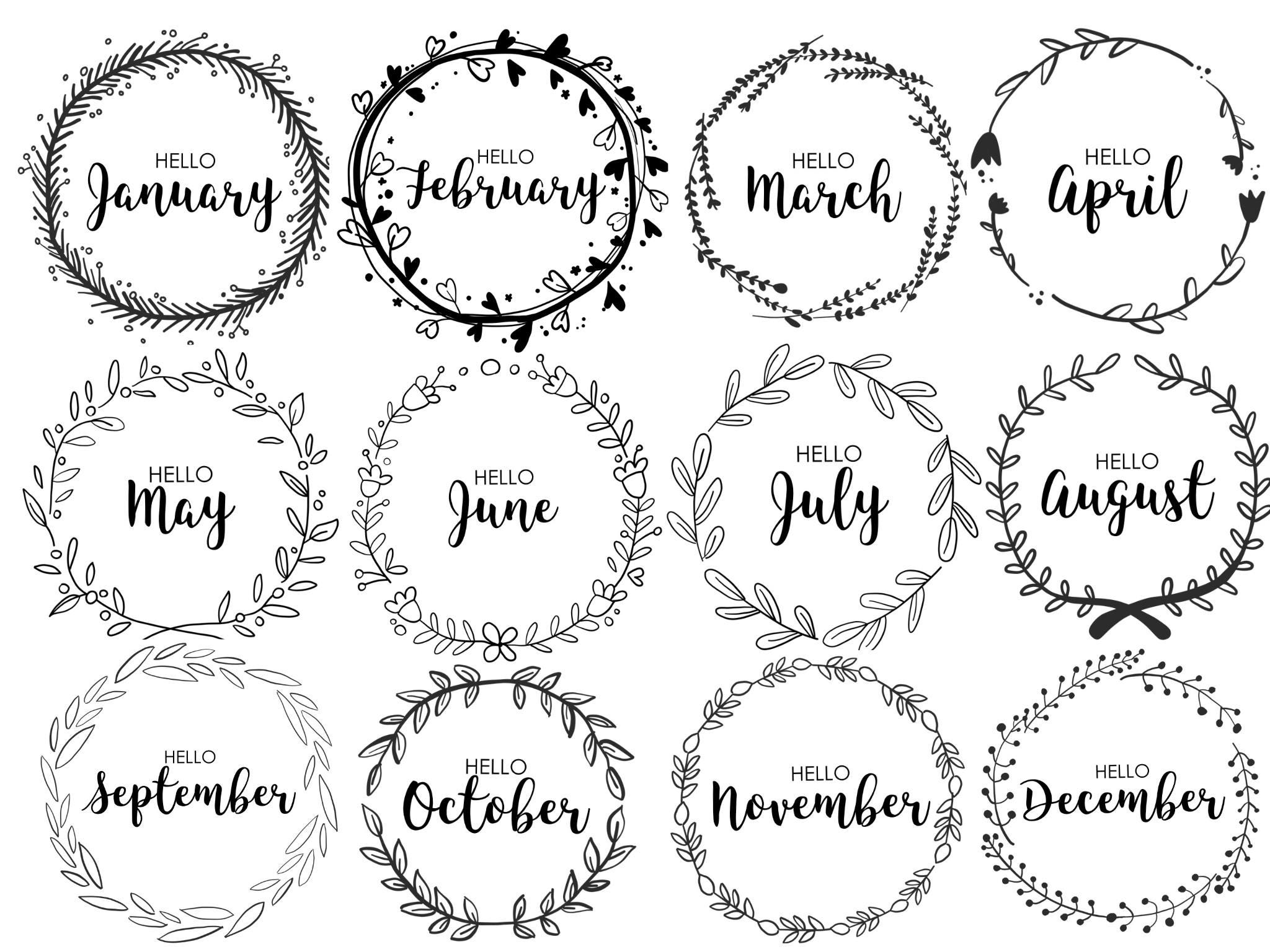 Journal monthly covers wreath monthly bullet journal for Journal art et decoration