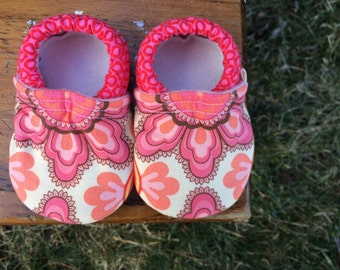 Baby Shoes for Girls - Coral, Brown and Peach Print with Pink Dot Print - Custom Sizes 0-24 months 2T-4T