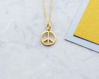 Peace symbol necklace, gold peace symbol necklace, gold necklace, simple necklace, layering necklace, festival necklace jewellery