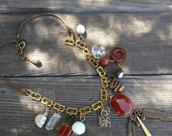 Boho Charm Necklace - Handmade - Upcycled - Feathers - Agate Pendant - Glass Elephant - Lucky Jewels - Ring - Amber Brass White Gold -