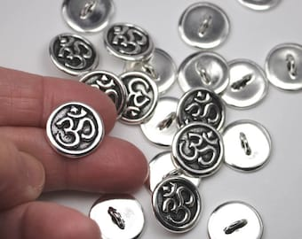 Silver Om Buttons, Antique Silver Plated, Lead Free Pewter, 17mm Bracelet Or Necklace Clasp Alternatives With 2mm Shank  C05 
